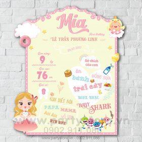 Bảng thông tin cho bé gái công chúa và Baby Shark