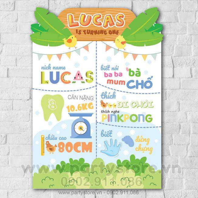 Bảng thông tin thôi nôi bé tuổi Gà Lucas