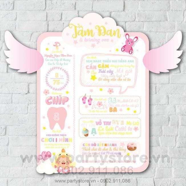 Bảng thông tin thôi nôi Màu hồng cho bé gái