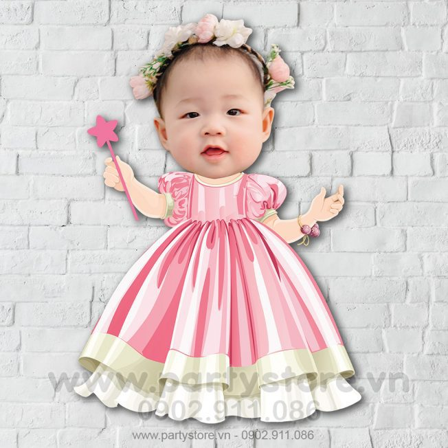 Chibi cho bé gái công chúa váy hồng