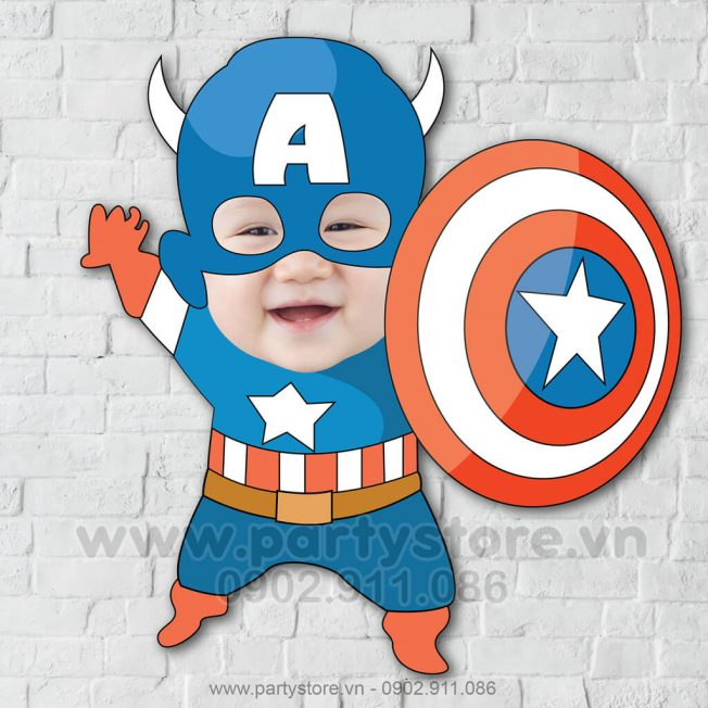 Chibi mặt bé ghép Captain America