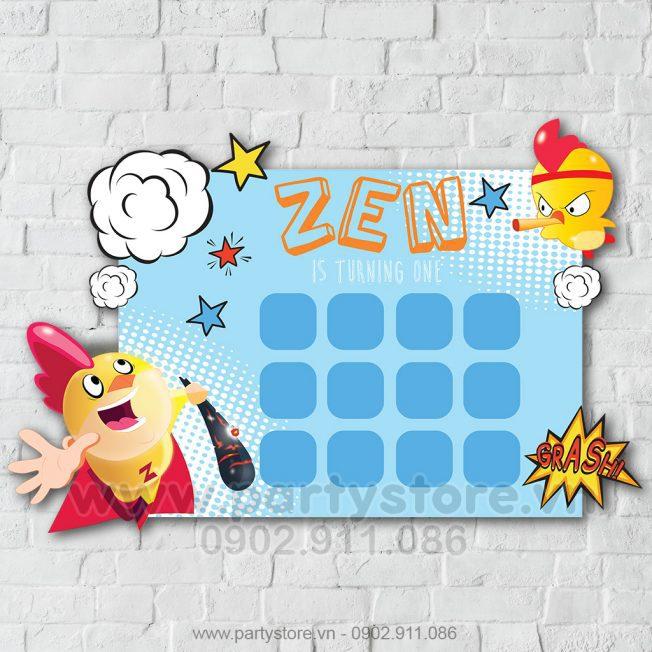 Khung hình 12 tháng bé gà siêu nhân