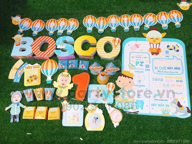 Set trang trí sinh nhật cho bé tuổi Gà (Bosco)