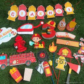 Set trang trí sinh nhật chủ đề Lính Cứu Hỏa