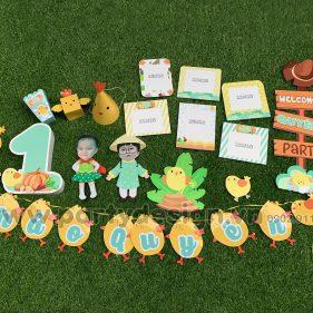 Set trang trí sinh nhật chủ đề gà con bé gái