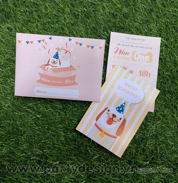 Thiệp sinh nhật chủ đề Cún cho bé Gái