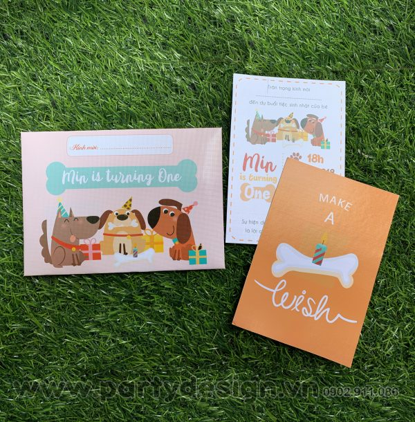 Thiệp sinh nhật chủ đề Cún Con cho bé Trai