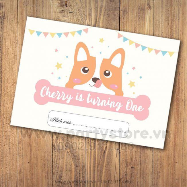 Thiệp sinh nhật chủ đề Cún con - Cherry