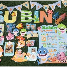 Set trang trí sinh nhật chủ đề Baby Shark