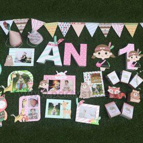 Set trang trí sinh nhật chủ đề bé gái Thổ Dân