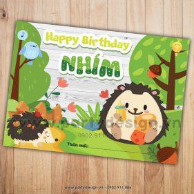 Thiệp sinh nhật chủ đề Nhím