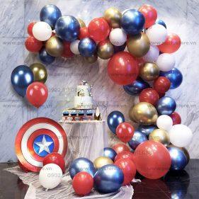 Set bong bóng Captain America xanh đỏ cam trắng