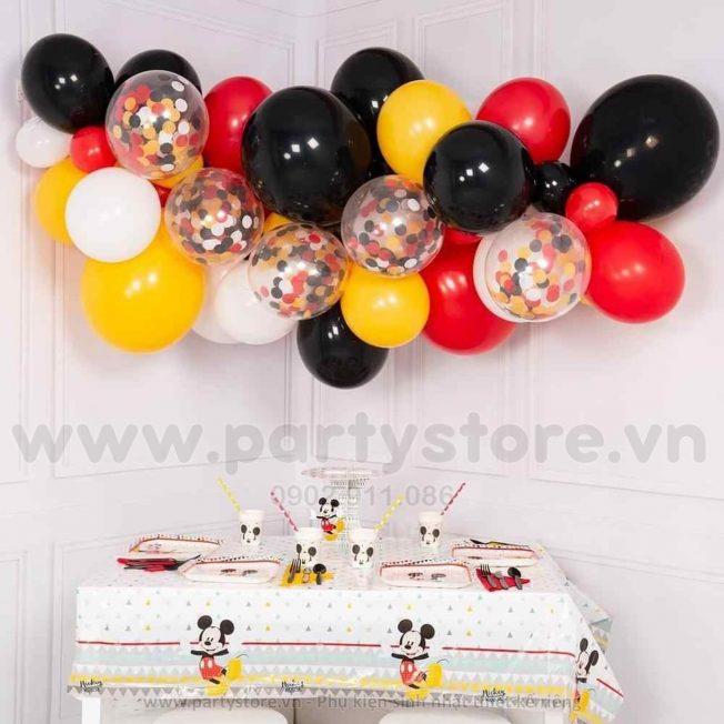 Set bong bóng Mickey đen đỏ vàng