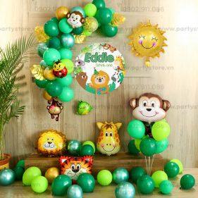 Set bong bóng trang trí màu xanh lá - khỉ, hươu, hổ, ong, sư tử