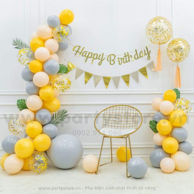 Set bong bóng vàng, dây Happy Birthday