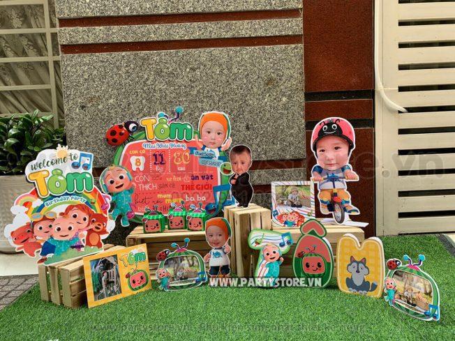 Set trang trí sinh nhật chủ đề Cocomelon - bé Tôm