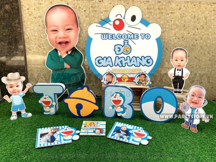Set trang trí sinh nhật chủ đề Doraemon - bé Gia Khang