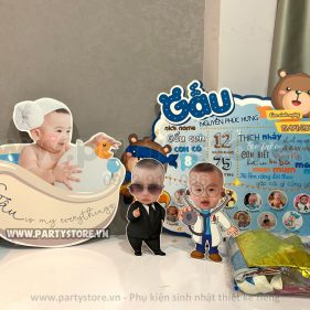 Set trang trí sinh nhật chủ đề Gấu - bé Phúc Hưng