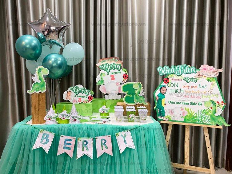 Set trang trí sinh nhật chủ đề Khủng Long Xanh - Berry Khả Trân