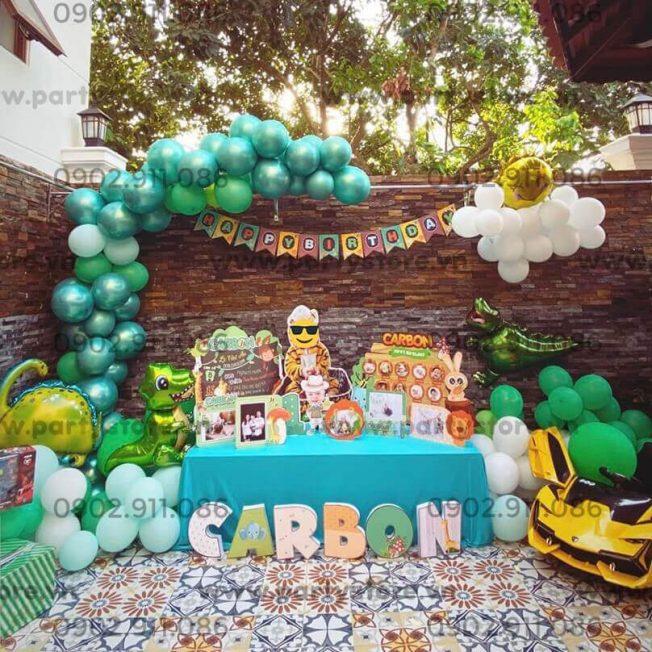 Set trang trí sinh nhật chủ đề Khủng Long & Safari - bé Carbon