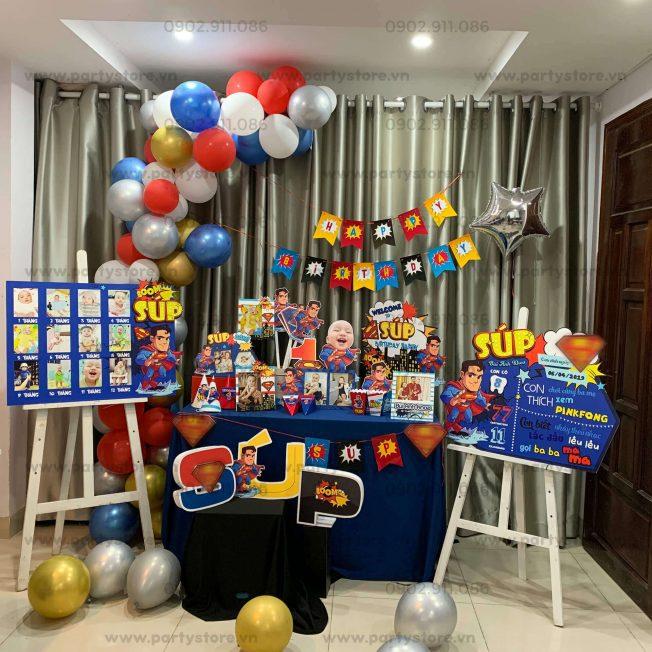 Set trang trí sinh nhật chủ đề Superman - bé Súp