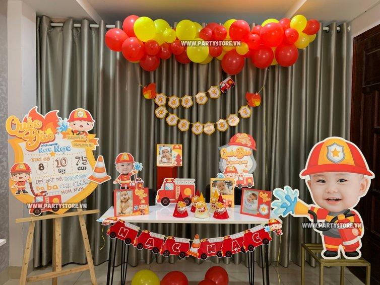 Set trang trí sinh nhật chủ đề Lính Cứu Hỏa - bé Quốc Bảo