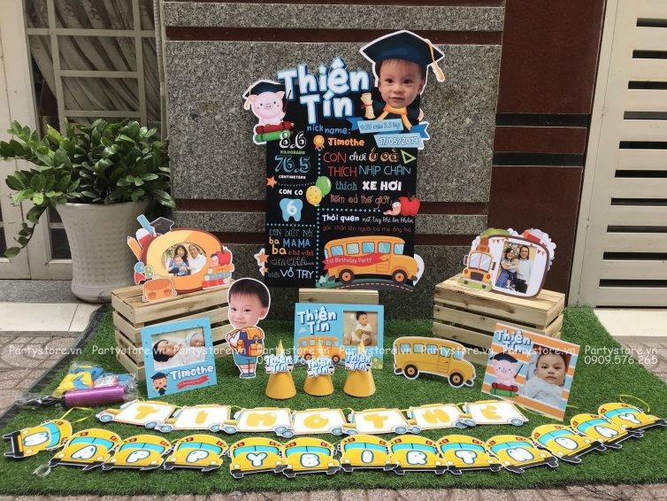 Bộ phụ kiện trang trí sinh nhật heo con cử nhân - bé Thiên Tín