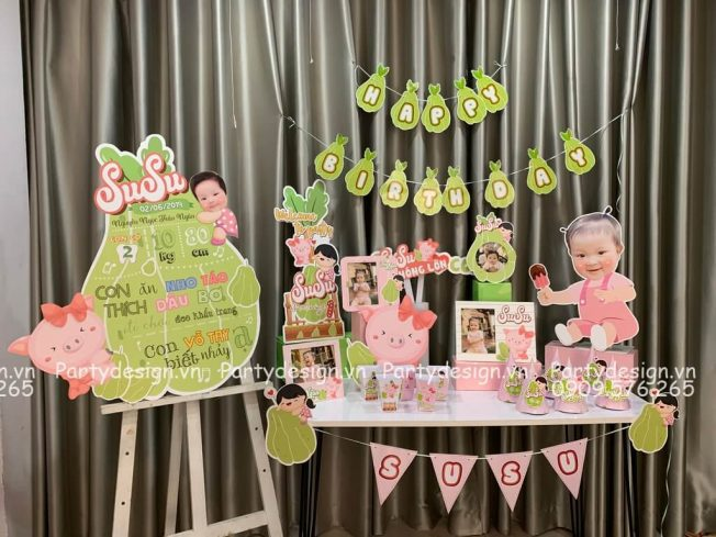 Bộ phụ kiện trang trí sinh nhật chủ đề quả SU - bé SuSu