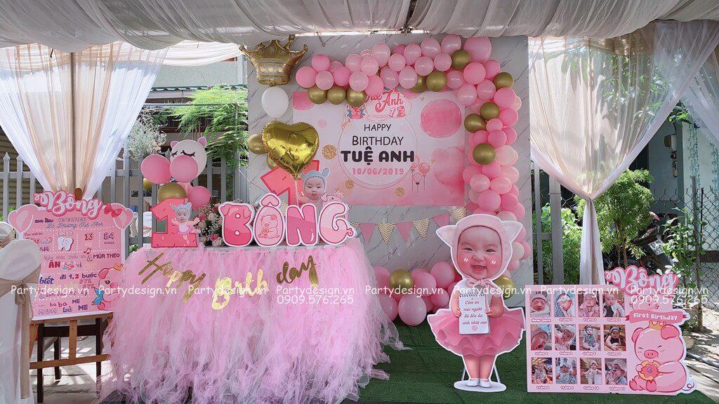 Tự trang trí sinh nhật cho bé gái chủ đề heo hồng