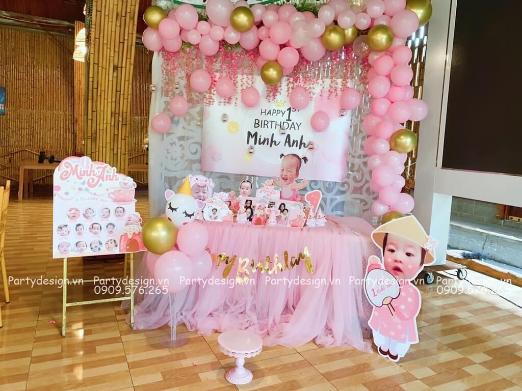 Trang trí sinh nhật cho bé gái với set bong bóng màu hồng