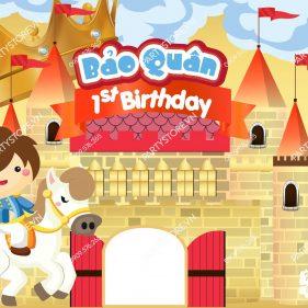 Backdrop sinh nhật bé trai hoàng tử cưỡi ngựa & lâu đài