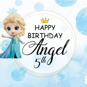 Backdrop sinh nhật Elsa - Frozone Baby