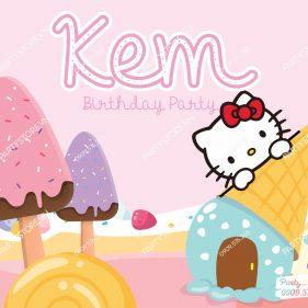 Backdrop sinh nhật Kem Ice Cream & Kitty