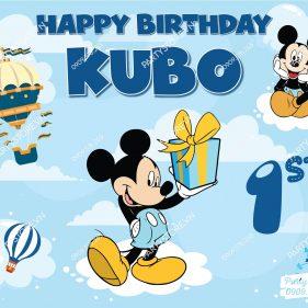 Backdrop sinh nhật Mickey xanh