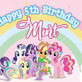 Backdrop sinh nhật Pony bé gái