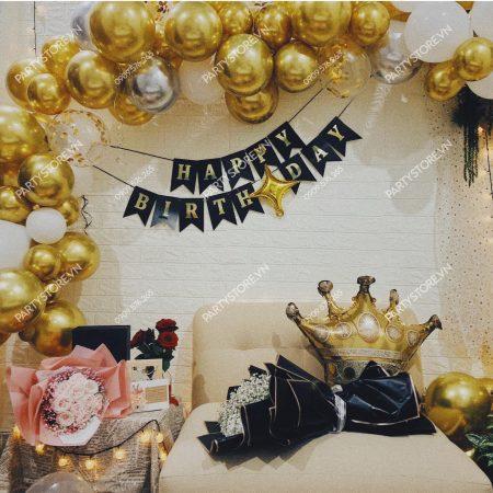 Trang trí sinh nhật người lớn bong bóng vàng gold - bạc silver