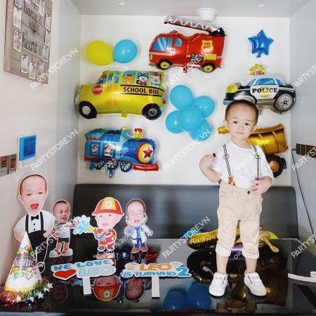 Trang trí sinh nhật cho bé trai tại nhà - chủ đề Bus, xe cứu hỏa