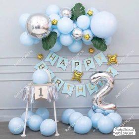 Set bong bóng xanh pastel, ngôi sao, lá, số tuổi